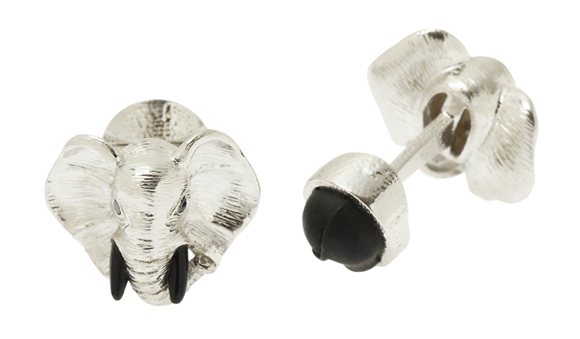 Sterling silver and black diamond elephant cufflinks