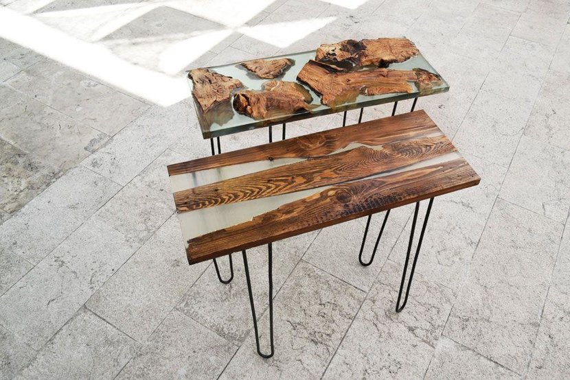The Island and its Twin (2016) by Aperçu Designs - A set of two side tables made out of wood and resin with steel support are part of a full collection debuting at Design Days Dubai. Founded in 2014 by young Tarek Hreish and Farah Kayyal, Aperçu Designs focuses its design strategy on setting the tone of the space around the user. Aperçu does not only offer furniture, but a whole new bespoke experience in furniture selection and lighting design.