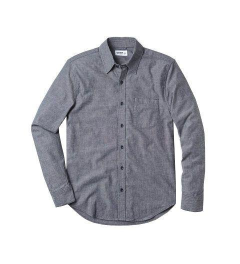 TO TUCK OR NOT TO TUCK? IT'S ALL IN THE SHIRT - It might seem counterintuitive, but tucking in a button-down isn't always the best move. Some shirts—in fabrics like denim, chambray, or flannel—are designed with shorter hems so that they can be worn untucked. Formal shirts in broadcloth (and some oxfords) have longer hemlines, which should always be worn tucked in to avoid the Going Out Shirt look. Generally, it's best to err on the side of tucking in. But with the right shirt, untucked is totally doable. [Chambray shirt by Gitman Vintage, endclothing.com]