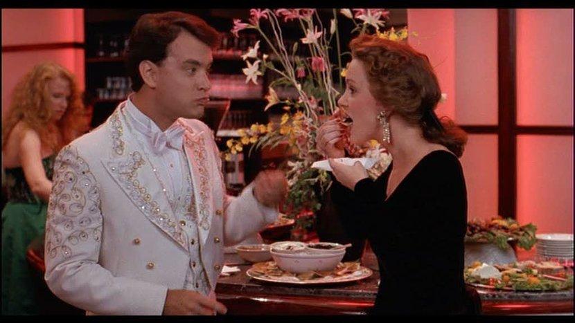 "Tom Hanks, as Josh Baskin, tastes caviar for the first time in ""Big"" (1998)"