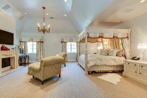The master suite has its own wing and includes a fireplace