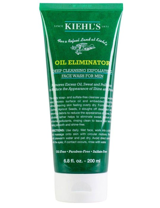 KIEHL'S - Oil Eliminator Deep Cleansing Exfoliating Face Wash - Keep pores clear by exfoliating once or twice a week. Kiehl's face wash uses crushed apricot seeds to exfoliate gently. kiehls.com