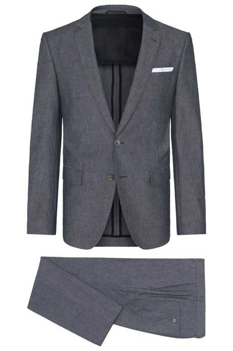 """HUGO BOSS - Slim Fit Stretch Cotton Seersucker - Although that famous blue-and-white stripe is often considered synonymous with the word """"seersucker,"""" it actually refers to the puckered fabric, not the print. Hugo Boss's slate-colored pick is a sleeker alternative.  hugoboss.com"""