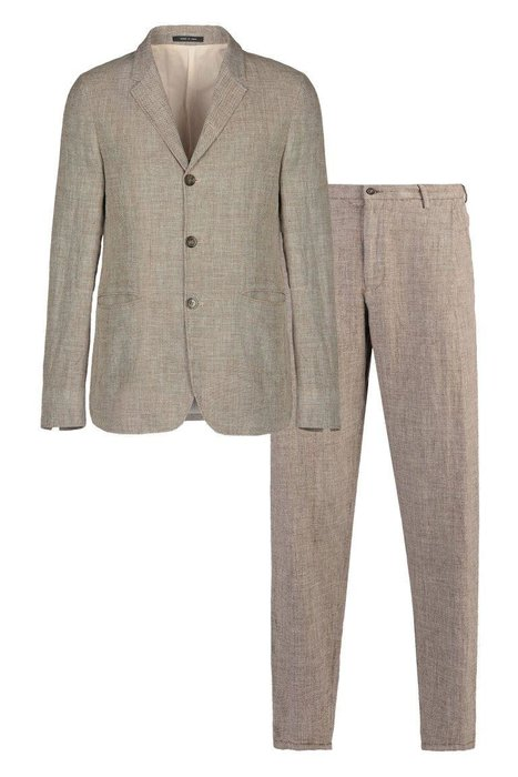EMPORIO ARMANI - Three-Button Suit - This is the pinnacle of laid-back summer style. The linen-wool fabric is breathable, and the (slightly) looser fit will keep you all aired out.  armani.com