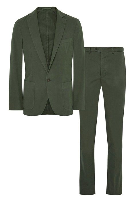 OFFICINE GENERALE  -  Garment-Dyed Cotton Twill Suit  -  Cotton twill is another cool fabric to look for. The deconstructed fit is super casual—feel free to wear it with a white T-shirt and minimalist sneakers. mrporter.com