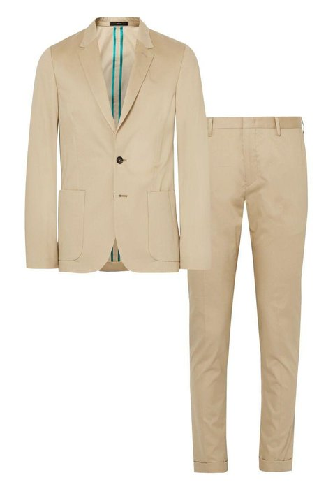 PAUL SMITH  -  Brushed Cotton Suit  -  Light colors won't absorb heat like darker ones will. Plus, the unlined cotton will breathe better than its fully lined counterparts. mrporter.com