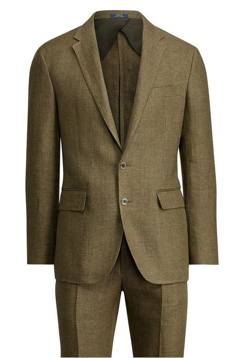 POLO RALPH LAUREN  -  Morgan Basket Weave Linen Suit  -  Linen is the ultimate summer fabric, and for a good reason: It's airy, elegantly rumpled, and pretty much sweat-proof. Polo Ralph Lauren's olive green option stands out against standard grays and blues. ralphlauren.com