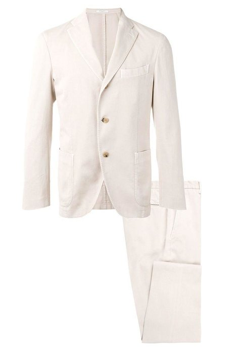 BOGLIOLI  -  Unstructured Cotton Suit  -  A cream-colored suit is a great base to have fun with. Add a printed polo or patterned button-down to liven it up. farfetch.com