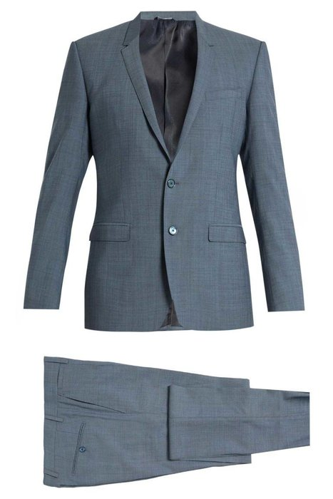 DOLCE & GABBANA  -  Gabbana Gold Fit Stretch Wool Suit  -  If you like navy in the winter, go for a stone blue in the summer. A blue suit is appropriate almost anywhere, but the lighter shade feels more laid-back and fresh. matchesfashion.com