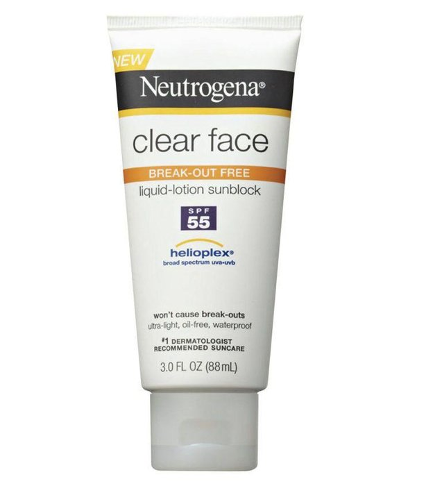 NEUTROGENA  --  Clear Face Liquid Lotion Sunscreen  --  If other sunscreens tend to make your face breakout, try this one instead.