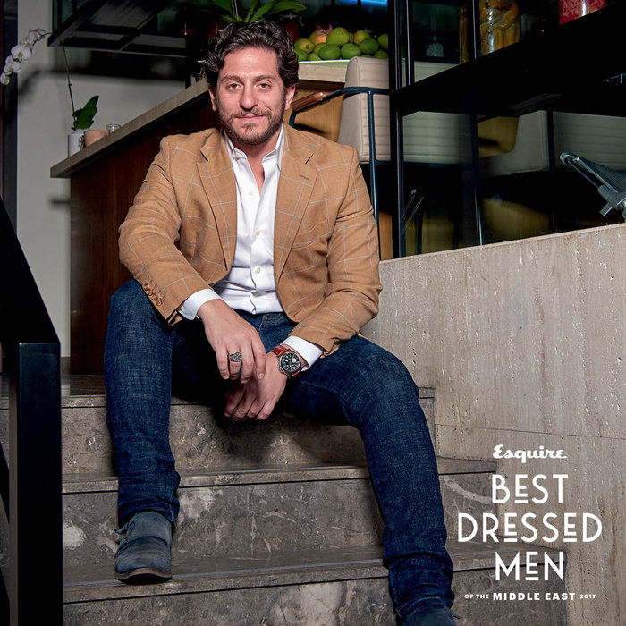 Mr Gerschel wears: Jacket, Loro piana; shirt, Kiton; jeans, Naked and famous; shoes, Zegna. Shot at Baker & Spice Souk al Bahar, Dubai