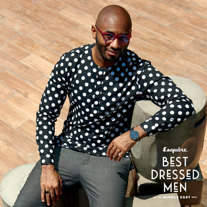 Mr Caton wears: shirt, trousers, both Caton manifesto, watch, Montiere rouese no36, shoes, Clarks Originals, glasses, Paul Smith. Shot at Treehouse, Taj hotel Dubai