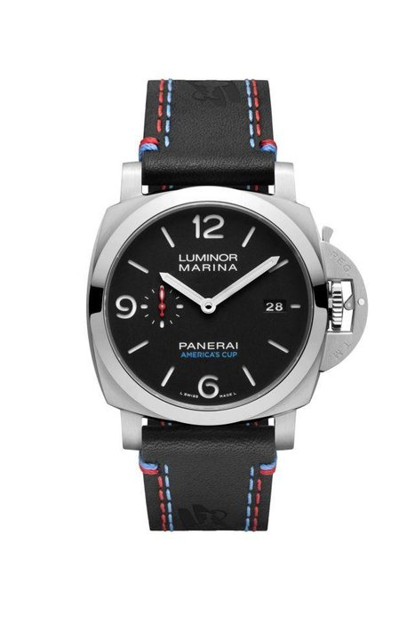 Panerai  -  America's Cup and Panerai, the new official timekeeper and a brand known for its distinctive nautical history, make for a perfect match. A classic Panerai model redone as a 300-piece limited edition tribute to the America's Cup, this automatic Luminor Marina has a power reserve of three days and displays both the time and the date.  [Luminor Marina 1950 America's Cup 3 Days Automatic Acciaio, 44mm, panerai.com]
