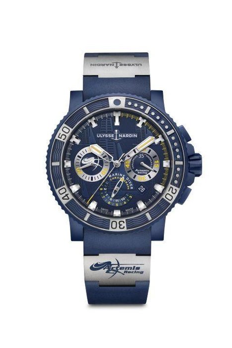 Ulysse Nardin  -  Created for Swedish team Artemis Racing, the Diver Black Sea Chronograph is an ultra-limited edition model, with only 250 pieces made. Water-resistant to 200 meters, the steel and matte blue rubber combination reflects the look and feel of the catamaran itself, and features a logo appearing on both the strap and inside the 30-minute counter at 9 o'clock.