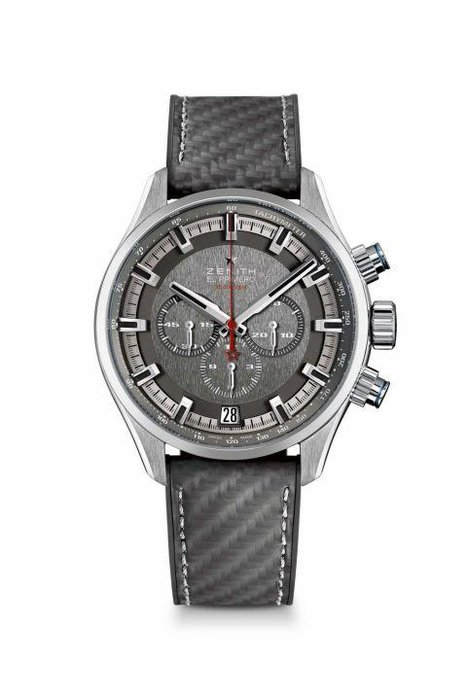 Zenith  -  Great Britain's Land Rover BAR (the company's team competing for the America's Cup title) continues its relationship with watch brand Zenith with a limited edition team version of the Chronomaster El Primero. The steel watch features a carbon fiber-coated rubber strap as a tribute to materials used on the catamaran; water resistant to 200 meters, the watch houses the El Primero 400 B automatic movement, a highly precise chronograph movement that's legendary in the watchmaking world.  [Chronomaster El Primero Sport Land Rover Bar Team Edition, zenith-watches.com]
