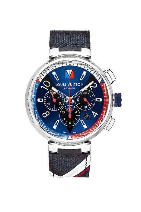 Louis Vuitton  -  On this sleek Chronograph, the America's Club logo is printed onto the strap itself in the signature colors of red, white, and blue. The automatic movement features a 42-hour power reserve, a date window between the 4 and 5 o'clock spots, and water resistance to 100 meters—perfect in case you find yourself having fallen overboard.  [Tambour Navy Chronograph, louisvuitton.com]