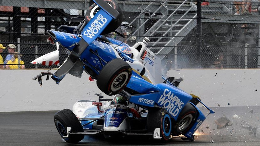 Indianapolis 500, Indianapolis, Scott Dixon, Indy 500, ESPN, Takuma Sato, Jay Howard, Crash, Crashes, Car crash, Racing crash