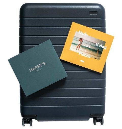 A SUITCASE GIFT SET - This travel gift set is great for every dad on the go. The uber lightweight Away suitcase comes packed with a Harry's shave kit and a book with inspirational anecdotes. Very resourceful. The Father's Day Gift Set by Away, awaytravel.com