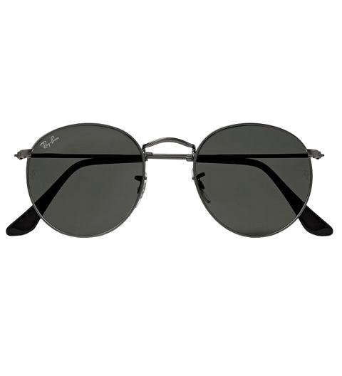 A PAIR OF SHADES - Gunmetal sunglasses are understated, but still overwhelmingly stylish. They're an easy upgrade from a standard black or brown frame. Round Frame Gunmetal Tone Sunglasses by Ray-Ban, mrporter.com