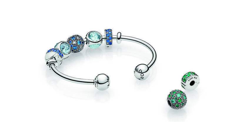 Pandora Moments Silver Open Bangle, Dhs345, and charms starting from Dhs195