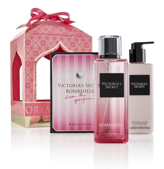 Victoria's Secret Eid Gift Set (priced individually): Bombshell perfume (100ml), Dhs340, Bombshell body mist, Dhs125, Bombshell body lotion, Dhs125