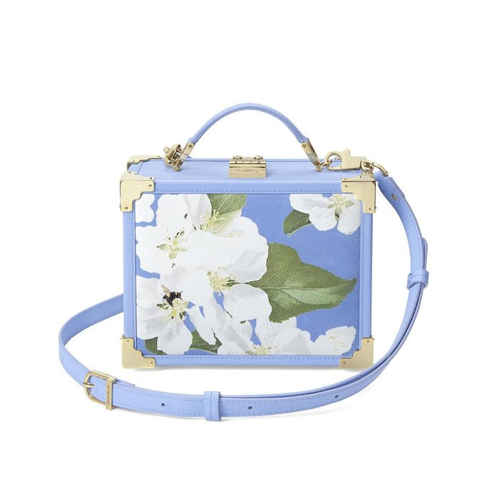 Aspinal of London,The Mini Trunk Clutch in Smooh Misty Blue and Blossom print, Dhs3,200 available at The Galleria On Al Maryah Island