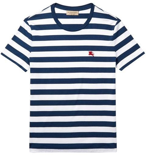 BURBERRY  -  Slim-Fit Striped Cotton-Jersey T-Shirt  -  A Breton stripe that's a bit thicker and bolder. -> mrporter.com