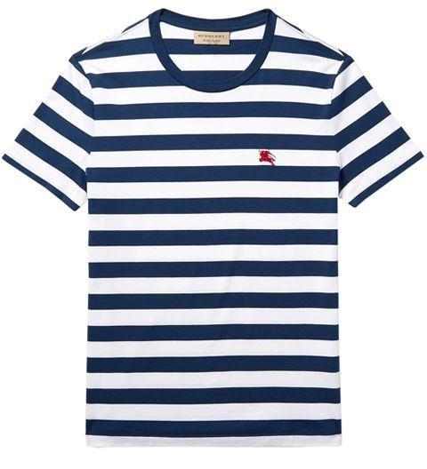 BURBERRY  -  Slim-Fit Striped Cotton-Jersey T-Shirt  -  A Breton stripe that's a bit thicker and bolder. -> mrporter.com