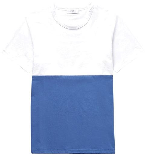 ENLIST  -  Oscar Color Block Cotton Jersey T-Shirt  -  If you're not into a thin stripe, a bold blocked version is another way to incorporate more colour. -> mrporter.com