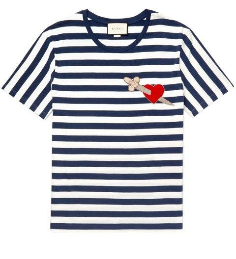 GUCCI  -  Appliqued Striped Cotton Jersey T-Shirt  -  Gucci's whimsical animals and insects (tigers and bees, for example) add just the right amount of interest to an otherwise simple design. Here, it's a dagger through a heart for those old-school tattoo vibes. -> mrporter.com