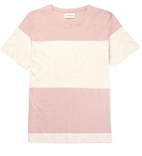 OLIVER SPENCER  -  Conduit Striped Melange Cotton Jersey T-Shirt  -  And if you're feeling adventurous, consider a super-thick pink stripe. -> mrporter.com