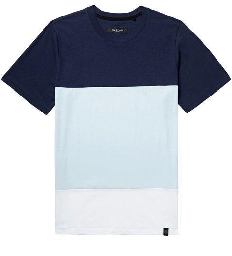 RAG & BONE  -  Colour Block Slub Cotton Jersey T-shirt  -  Like stripes, just bigger and bolder. Rag & Bone's color blocked T-shirt is your vacation secret weapon. -> mrporter.com