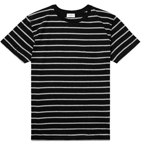 SAINT LAURENT  -  Slim Fit Striped Cotton Jersey T-shirt  -  Saint Laurent's black-and-cream shirt looks cool on its own, and pairs well with a leather jacket for colder nights. -> mrporter.com