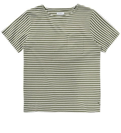 SATURDAYS  -  Collette Feeder Short Sleeve T-Shirt  -  With all of blue-and-white striped tees out there, why not mix it up with a sage and cream option? -> saturdaysnyc.com