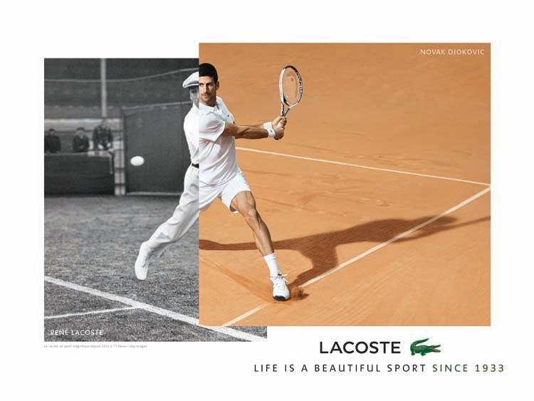 Lacoste, Novak Djokovic, Timeless, Life is a beautiful sport since 1933, Polo