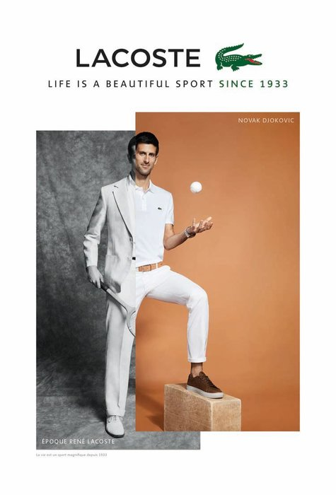 Lacoste, Novak Djokovic, Timeless, Life is a beautiful sport since 1933, Polo