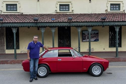 Mushahid Shah with his vintage Alfa Romeo