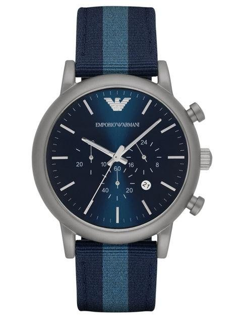 EMPORIO ARMANI - Men's Chronograph Luigi Nylon Strap Watch - Armani's nylon watch is simple, but easy to wear with everything. armani.com