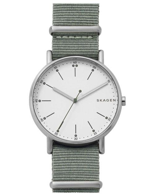 SKAGEN - Signatur Nylon Strap Watch - A light olive green color adds some character. nordstrom.com