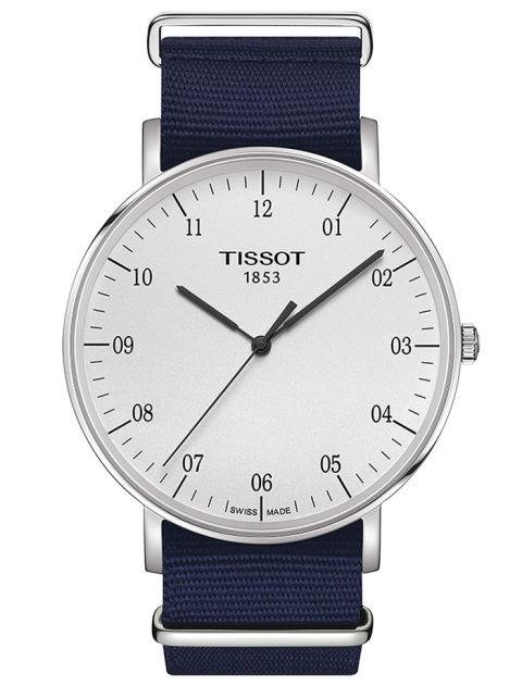 TISSOT - Swiss Everytime Blue Synthetic NATO Fabric Strap - A white face and navy strap is an easy addition to every outfit. macys.com