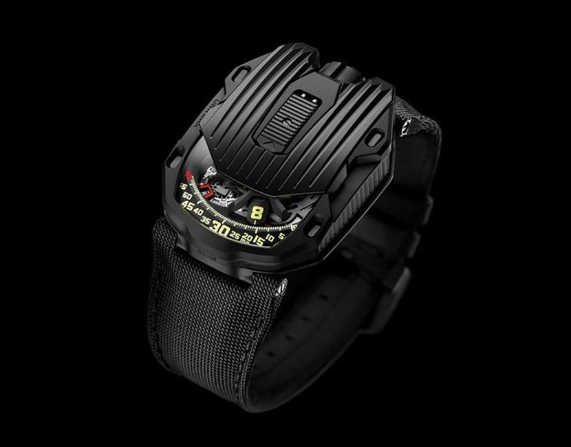 The Urwerk 105-CT Streamliner in black PVD-coated steel