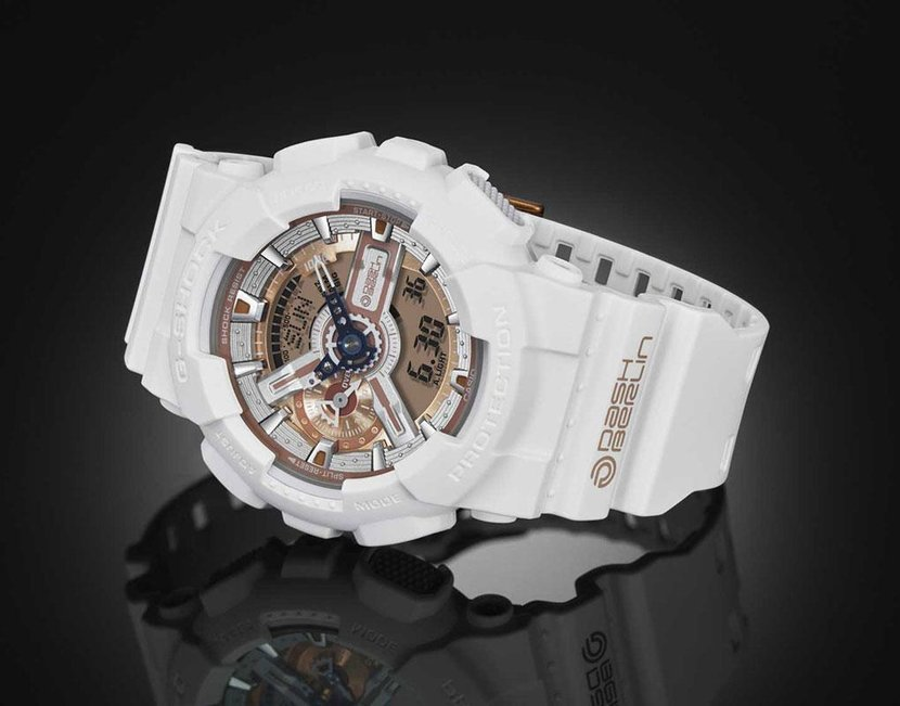 The new G-Shock comes in white with gold accents on the dial