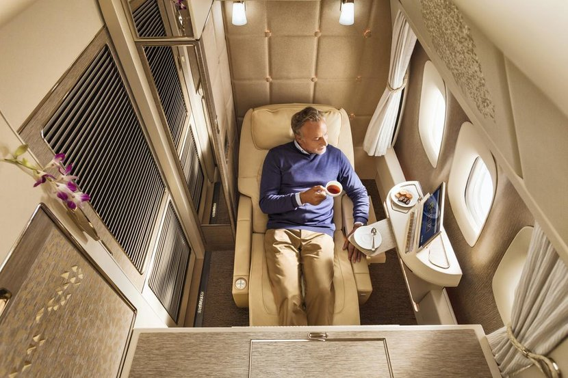 Emirates, Mercedes Benz S-class, Jeremy Clarkson, Dubai Air show, Boeing 777, Airbus A380, First class, Economy class, Business class, An inside look at the new Emirates x Mercedes x Jeremy Clarkson Boeing 777 collab, Large beds, Dining space, Virtual windows and more….