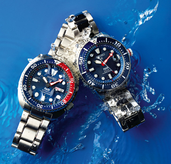 (L) SRPA21J1 Seiko Prospex PADI Edition Automatic Divers, 200 meters AED1,995 (R) SNE435P1 Seiko Prospex PADI Edition Solar Divers, 200 meters AED1,420