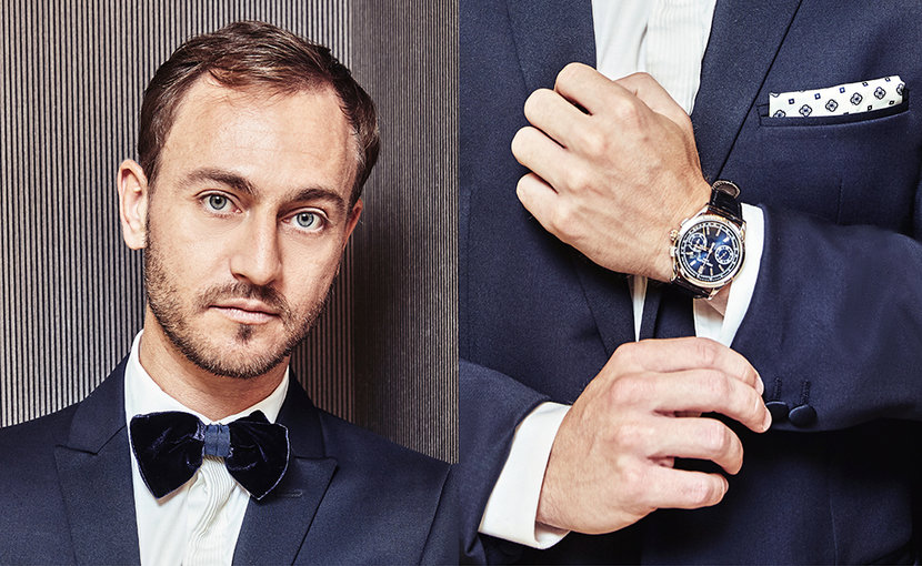 Hassan Akhras wears tuxedo; Emporio Armani Watch; Patek Philipe 5710P @ Al Manara International Jewellery
