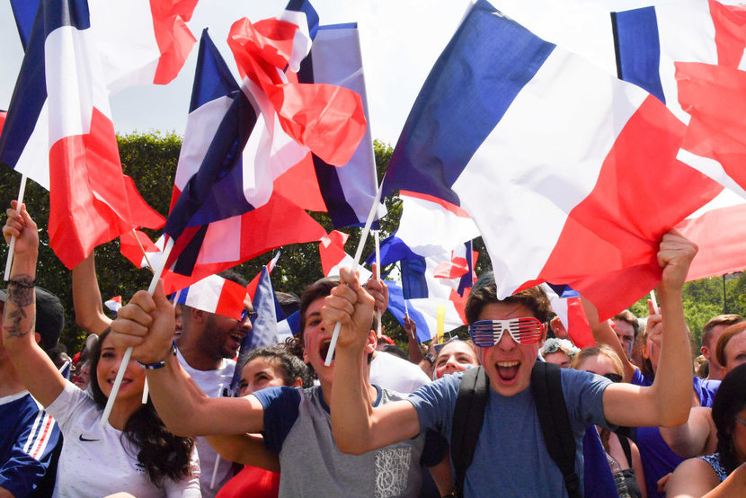 Fans at the Champs de Mars during France against Croatia during the World Cup Final at the Champs de Mars on July 15 2018 in Paris France