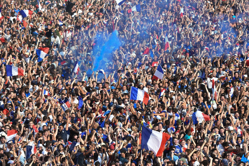 General view of the Fan Zone at the Champs de Mars after the victory of France against Croatia during the World Cup Final at the Champs de Mars on July 15 2018 in Paris France