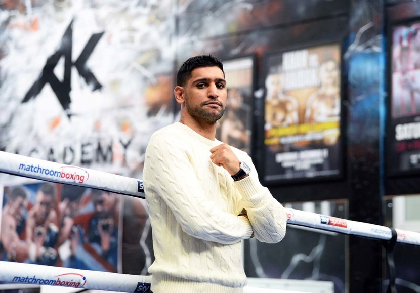 Amir Khan poses for a portrait during a media day at the Amir Khan Boxing Academy