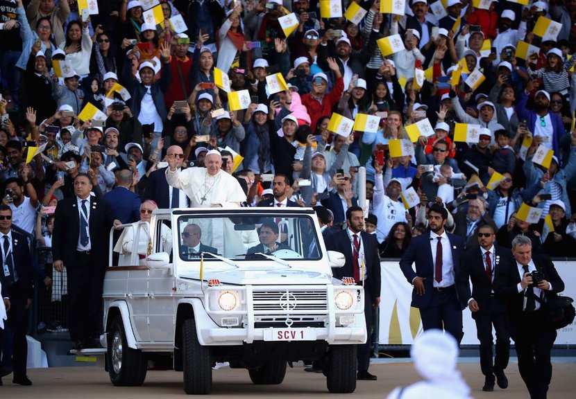 Pope Francis arrives to celebrate Mass at Zayed Sport City in Abu Dhabi
