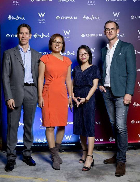 Shawn Davis   Cai Hong Evita Xu and Bass Ackermann  Chivas 18 Event  Esquire  W Hotel Plam   Dubai   photo by Ajith Narendra  ITP Images17042019_Chivas 18 Event ESQ